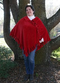 Fleece poncho robe