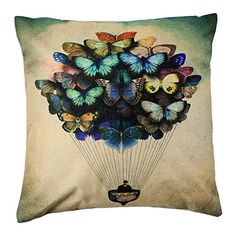 4TH Emotion Colorful Butterfly Balloon Retro Home Decor Design Throw Pillow Cover Case 18 X Inch Cotton Linen For Sofa Easter Day Gift