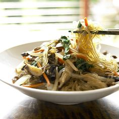Japchae / Korean Glass Noodles with Beef and Vegetables Recipe From The Korean Table (New Asian Cuisine)