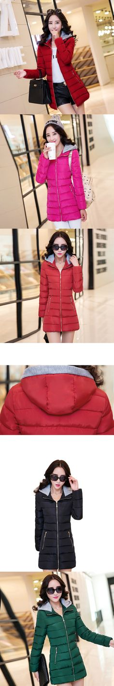 2017 high quality women winter coat cotton padded solid hooded slim outerwear jacket plus size feminino casual warm parka casaco
