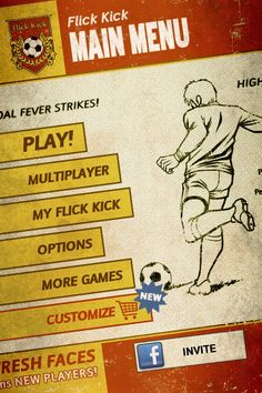 Kick Flick Football / PikPok  Retro comic style UI. Sloping angles enhance the theme.