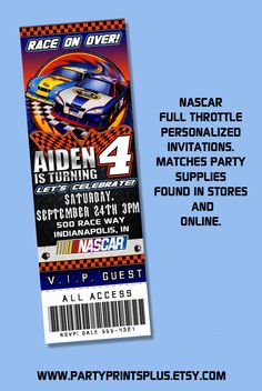 Nascar Invitations, Full Throtte Theme Personalized Birthday Party Ticket Invitations, matches supplies, self print.