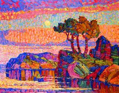 Birger Sandzen - Twilight; is this pointalism like Seurat?  Love the vibrant color and reflective qualities, the balance of the elements of the scenery.