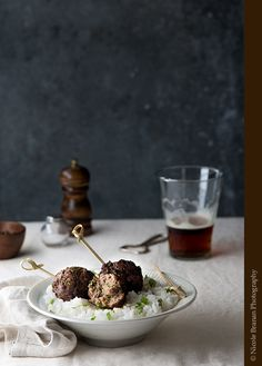 Ginger Garlic Lime Cilantro Meatballs with Coconut Rice