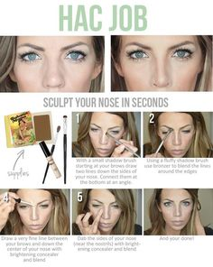 Best Beauty Hacks Ever Created - Nose Sculpting - Tips And Tricks For Skin Care, Make Up, Style, And Products Every Girl Should Try At Least Once In Life. Beauty Make-up, Beauty Secrets, Beauty Hacks, Hair Beauty, Beauty Tips, Fashion Beauty, Beauty Tutorials, Makeup Tutorials, Beauty Products