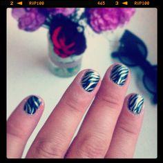 Black and Silver Zebra Nails
