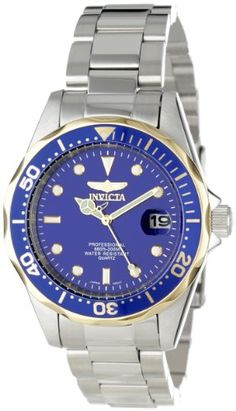 Invicta Mens 12809X Pro Diver Blue Dial Stainless Steel Watch >>> Learn more by visiting the image link. This Amazon pins is an affiliate link to Amazon.