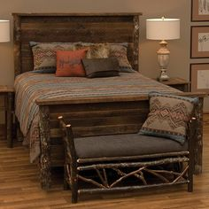 Loon Peak Higgenbotham Panel Bed is built with authentic reclaimed red oak planks from tobacco barns and trimmed in hickory log posts. Western Style, Pallet Furniture, Home Furniture, Western Furniture, Furniture Design, Estilo Colonial, Decoration Bedroom, Wedding Decoration, Wall Decor