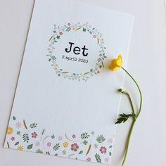 Lief en fleurig geboortekaartje voor een meisje. Past helemaal in de botanische trend! www.meisenmanneke.nl #geboortekaartje #botanisch #bloemen