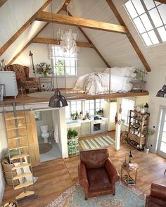 Home Inside Design, Tiny House Design, Cabin Design, Cottage Design, Tiny House Living, Bus Living, Tiny House Loft, Best Tiny House, Micro House