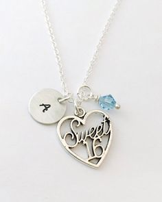 Hand Stamped Sweet Sixteen Necklace 16th by UniquelyImprint