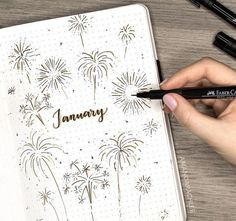 Bullet journal monthly cover page, January cover page, fireworks drawing. Bullet journal monthly cover page, January cover page, fireworks drawing. Bullet Journal Inspo, January Bullet Journal, Bullet Journal Cover Page, Bullet Journal Notebook, Bullet Journal Aesthetic, Bullet Journal Spread, Bullet Journal Layout, Bullet Journal Ideas Pages, Bullet Journals