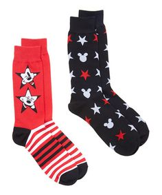 Love this Black & Red Mickey Mouse Crew Sock Set - Adult on #zulily! #zulilyfinds $6