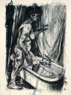 Untitled, 2002. O artista utilizou como técnicas carvão, pigmento seco e guaches em nove pedaços de papel. Este desenho é de um segmento de 9 desenhos com a representação de uma mulher a entrar na banheira.