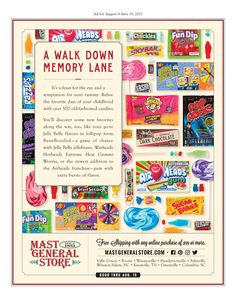 A Walk Down Memory Lane  It's a feast for the eye and a temptation for your tummy. Relive the favorite days of your childhood with over 500 old-fashioned candies - Pixie Sticks, Charleston Chews, Bit-O-Honey, Circus Peanuts, Pop Rocks, Mallo Cups... the list could go on and on.  You'll discover some new favorites along the way, too, like your go-to Jelly Belly flavors in lollipop form, a cup of Krispy Kreme Coffee you can enjoy anywhere anytime, and Mast Store Milk and Dark Chocolate bars…