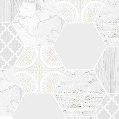 Hexagonal Marble Wallpaper, , large