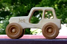 Personalized wooden toy Jeep, handmade from local Missouri maple. Making Wooden Toys, Handmade Wooden Toys, Wooden Toy Cars, Wood Toys, Wood Log Crafts, Cardboard Car, Small Wood Projects, Woodworking Projects Diy, Diy Toys