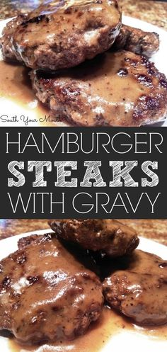Hamburger Steaks with Brown Gravy Hamburger steaks pan fried . - Hamburger Steaks with Brown Gravy Hamburger steaks pan fried with brown gravy. Hamburger Steak Recipes, Hamburger Steak And Gravy, Hamburger Dishes, Beef Dishes, Ground Beef Recipes, Food Dishes, Meatloaf Brown Gravy, Main Dishes, Steak Gravy Recipe