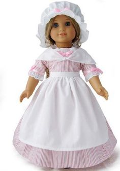 """Amazon.com: Colonial Pink Striped School Work Gala Gown Dress 5 Piece Outfit Set Fits American Girl 18"""" Doll Felicity Elizabeth: Toys & Games"""