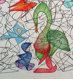 Een lijnenveld tekenen en daarin vormen/figuren zoeken en uitwerken.       Naast dat het leuk en verrassend is om te doen, heeft het nog e...