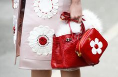 8/21/13: Mini red bags, by Hermes and Prada. #LookOfTheDay