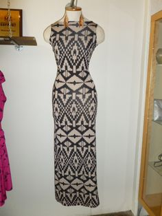 Tribal print maxi dress with scoop back