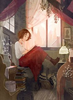 An eclectic collection of appealing photos, illustration and art. All photos belong to others, credited when possible. Art And Illustration, Girl Illustrations, Reading Art, Woman Reading, Reading Time, Reading Nook, Girl Reading Book, Reading Fluency, I Love Books
