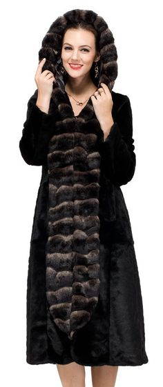 Sheared Mink Faux Fur Coat Hooded With Faux Chinchilla Trim
