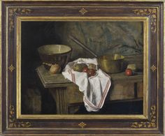 George Weissbort (1928-2013), The brass saucepan (1961), oil on board, 35.2 x 45.7 cm. Reproduction 17th century Italian cassetta frame, parcel gilt faux walnut with foliate sprigs at corners, & centre rosettes