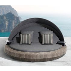 OVE Decors Sarasota Aluminum Outdoor Day Bed with Olefin Dark Gray Cushions Outdoor Daybed, Patio Loveseat, Pool Furniture, Outdoor Furniture, Outdoor Decor, Furniture Removal, Outdoor Living, Small Outdoor Spaces, Grey Cushions