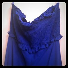 BCBG chiffon strapless dress Cobalt blue strapless tube top dress. Chiffon layered. Brand new with tags. Gorgeous flowy dress. Super cute for a wedding or a special event. BCBGMaxAzria Dresses Strapless