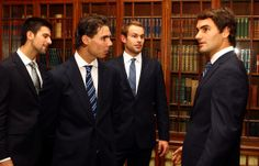 Roger Federer and Andy Roddick - ATP World Tour Finals - Media Day