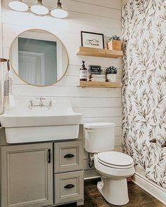 Easy Ways To Love Your Home; Farmhouse Bathroom Decor Ideas As far as home-improvement projects go, it's not the scale of the changes that you make. Guest Bathrooms, Upstairs Bathrooms, Downstairs Bathroom, 50s Bathroom, Silver Bathroom, Bathroom Interior, Modern Bathroom, Shiplap Bathroom, Bathroom Renos