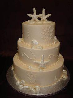 sea themed wedding cake.. for a true beach lover