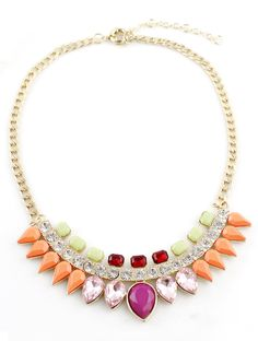 Multi Drop Gemstone Gold Chain Necklace - Sheinside.com