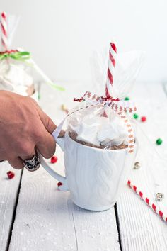 Homemade Holiday Gifts- Easy Double Chocolate Vanilla Bean Hot Cocoa Mugs + Marshmallows | halfbakedharvest.com