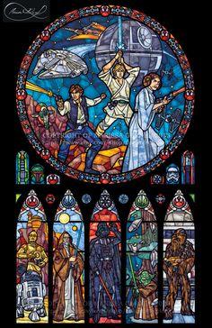 Voller Größe Star Wars: Classic - Transparenz-Glasmalerei-Print