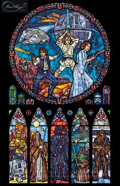 Half Size Star Wars: Classic - Transparency Stained Glass Print