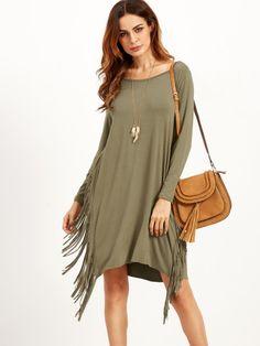 Olive Green Long Sleeve Fringe Dress