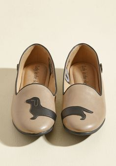 You've Got Doxie, Kid Flat | Mod Retro Vintage Flats | ModCloth.com If you have boundless energy and zest for life, you need shoes that can keep up. So, try these coffee brown flats from Loly in the sky on for size! Featuring faux-leather uppers, padded footbeds, and a darling black dachshund design, this sweet pair was made to match your moxie!