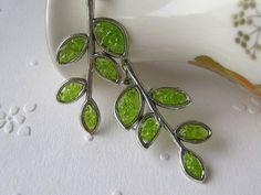 Green glass earrings https://www.etsy.com/listing/121094374/branch-earrings-leaf-earrings-twig