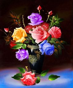 Yellow, Pink, Red and Blue Roses in Vase http://ali.pub/1nuh3p diamond mosaic gift Needlework cross stitch Full diamond embroidery Rose Vase flower picture home decor diy 5d diamond Painting