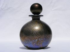 Isle of Wight Studio Glass 'Azurene Black' perfume bottle