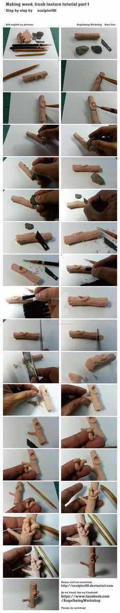 Making wood, trunk texture tutorial part 1 by sculptor101  This is a simple tutorial of how to make wood, trunk texture in Super Sculpey, left to right, line down. Again, wish I have an extra...