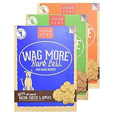 Cloud Star Wag More Bark Less Oven Baked Biscuits Variety 3 Pack - 1 Bacon Cheese and Apples - 1 Chicken and Carrots - 1 Peanut Butter - 16 oz Each * Be sure to check out this awesome product. (This is an affiliate link) Dog Snacks, Dog Treats, Apples And Cheese, Star Cloud, Positive Behavior, Oven Baked, Pop Tarts, Peanut Butter