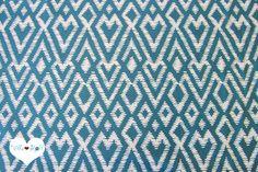 Stoff retro - ethno IKAT Stoff ♦ petrol Baumwollstoff FLORA Herz - ein Designerstück von Villa-Stoff bei DaWanda