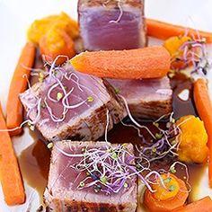 Tuna, carrot ans soya-caramel sauce