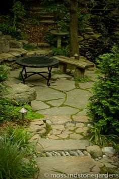 an assortment of materials to relate to the granite, concrete, brick and stone. Maybe a dedicated grass area ( near the watchtower). Small Space Gardening, Garden Spaces, Gardening Tools, Backyard Patio, Backyard Landscaping, Outdoor Walkway, Back Gardens, Outdoor Gardens, Flagstone Path