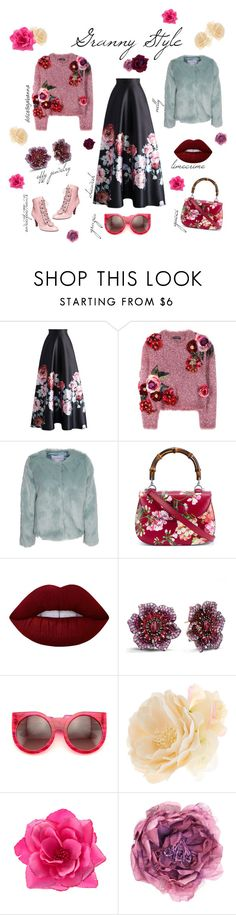 """""""Granny Style"""" by muckamuck ❤ liked on Polyvore featuring Chicwish, Dolce&Gabbana, NLY Trend, Gucci, Lime Crime, Effy Jewelry, Wildfox and Accessorize"""