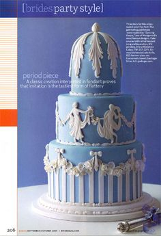 Wedgwood inspired cake created by Flex Moulding, and designed by Cheryl Kleinman Cakes Beautiful Cake Designs, Beautiful Cakes, Amazing Cakes, Fondant Cakes, Cupcake Cakes, Fondant Molds, Cupcakes, Wedding Cake Maker, Salad Cake